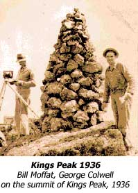 Bill Moffat, George Colwell on the summit of Kings Peak, 1936